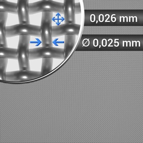 Siatka tkana ze stali nierdzewnej sito 500 oczko 0,026mm, średnica drutu 0,025mm, szerokość rolki 1000mm