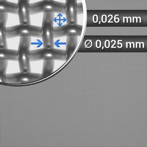 Siatka tkana ze stali nierdzewnej sito 500 oczko 0,026mm