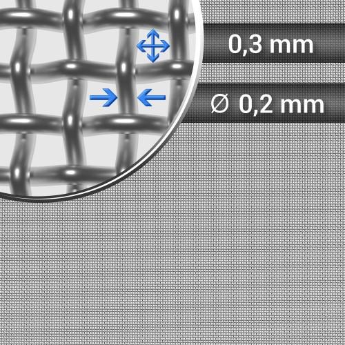 Siatka tkana ze stali nierdzewnej sito 51 oczko 0,3mm, średnica drutu 0,2mm, szerokość rolki 1000mm