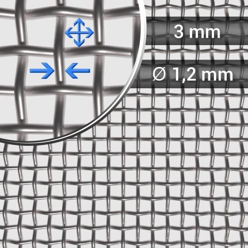 Siatka tkana ze stali nierdzewnej sito 6 oczko 3mm, średnica drutu 1,2mm, szerokość rolki 1000mm