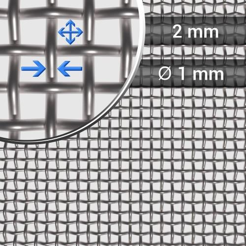 Siatka tkana ze stali nierdzewnej sito 8 oczko 2mm, rolka 1000 mm