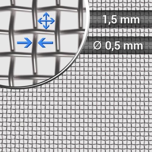 Siatka tkana ze stali nierdzewnej sito 13 oczko 1,5mm, średnica drutu 0,5mm, szerokość rolki 1000mm