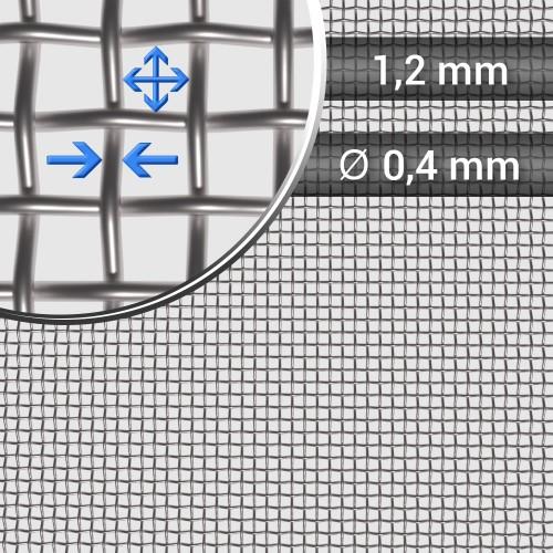 Siatka tkana ze stali nierdzewnej sito 16 oczko 1,2mm, średnica drutu 0,4mm, szerokość rolki 1000mm