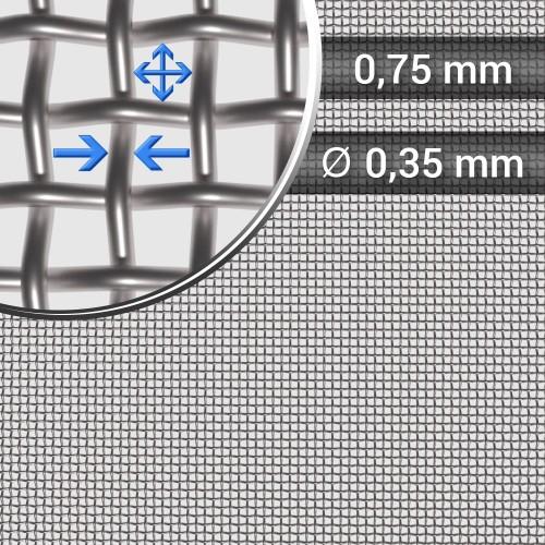 Siatka tkana ze stali nierdzewnej sito 23 oczko 0,75mm, średnica drutu 0,35mm, szerokość rolki 1000mm