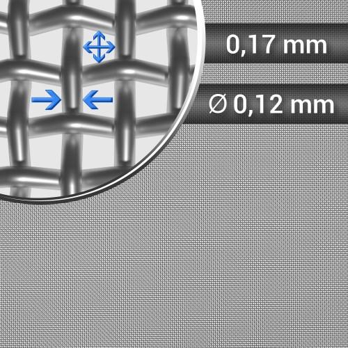Siatka tkana ze stali nierdzewnej sito 88 oczko 0,17 mm, średnica drutu 0,12mm, szerokość rolki 1000mm