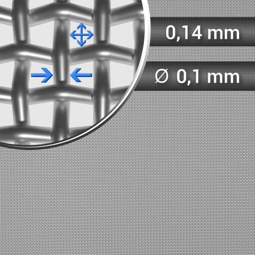 Siatka tkana ze stali nierdzewnej sito 105 oczko 0,14mm, średnica drutu 0,1mm, szerokość rolki 1000mm