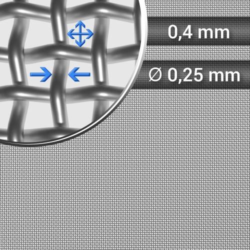 Siatka tkana ze stali nierdzewnej sito 39 oczko 0,4mm, średnica drutu 0,25mm, szerokość rolki 1000mm