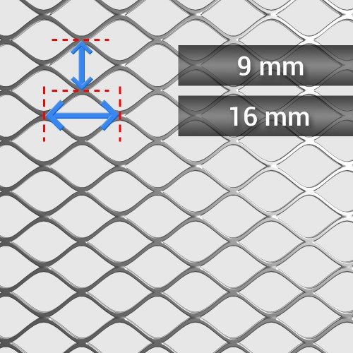 Siatka cięto ciągniona ocynkowana oczko: 16 mm x 9 mm, grubość 1 mm, szerokość rolki 1250 mm