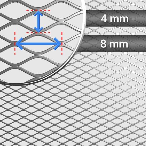 Siatka cięto ciągniona ocynkowana oczko: 8 mm x 4 mm, grubość 0,4mm, szerokość rolki 1000mm
