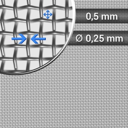 Siatka tkana ze stali nierdzewnej sito 34 oczko 0,5mm, średnica drutu 0,25mm, szerokość rolki 1000mm