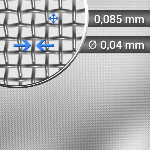 Siatka tkana ze stali nierdzewnej oczko 0,085mm