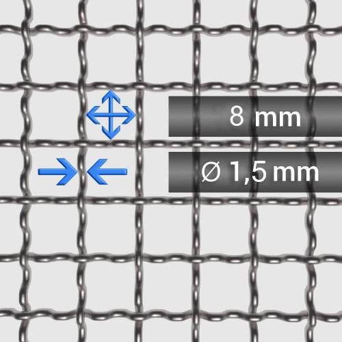Siatka tkana ze stali nierdzewnej sito 3 oczko 8mm, średnica drutu 1,5mm, szerokość rolki 1000mm