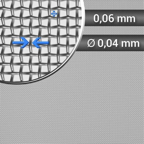 Siatka tkana ze stali nierdzewnej, sito 254, oczko 0,06 mm, rolka 1000 mm