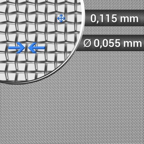 Siatka tkana ze stali nierdzewnej, sito 149, oczko 0,115mm, średnica drutu 0,055mm, szerokość rolki 1000mm