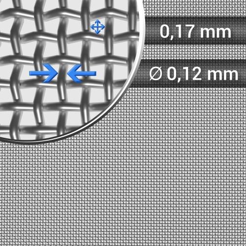 Siatka tkana ze stali nierdzewnej, sito 88, oczko 0,17 mm, rolka 1200 mm