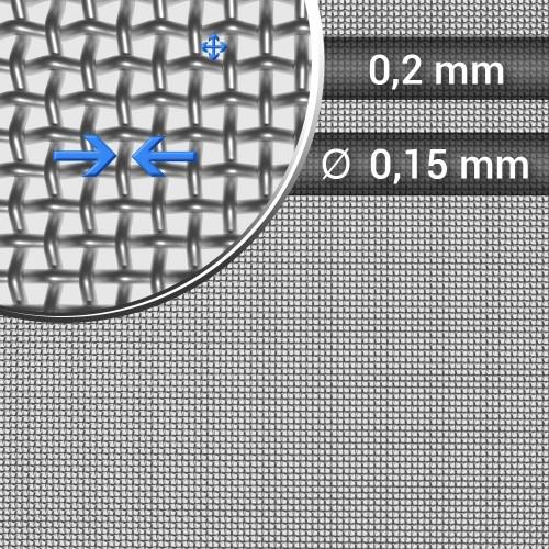 Siatka tkana ze stali nierdzewnej, sito 73, oczko 0,2 mm, średnica drutu 0,15mm, rolka 1000 mm