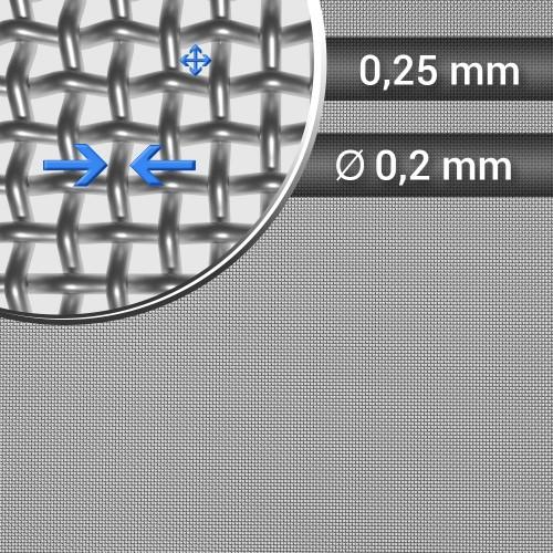 Siatka tkana ze stali nierdzewnej, sito 56, oczko 0,25mm, średnica drutu 0,20mm, szerokość rolki 1000mm
