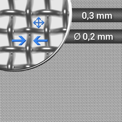 Siatka tkana ze stali nierdzewnej, sito 51, oczko 0,3 mm, rolka 1200 mm