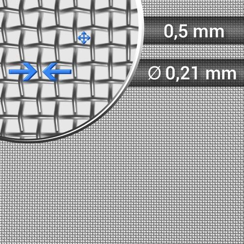 Siatka tkana ze stali nierdzewnej, sito 36, oczko 0,5 mm, rolka 1000 mm