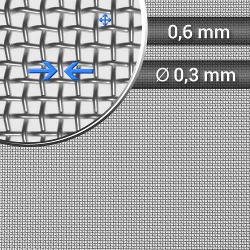 Siatka tkana ze stali nierdzewnej, sito 28, oczko 0,6 mm, rolka 1000 mm