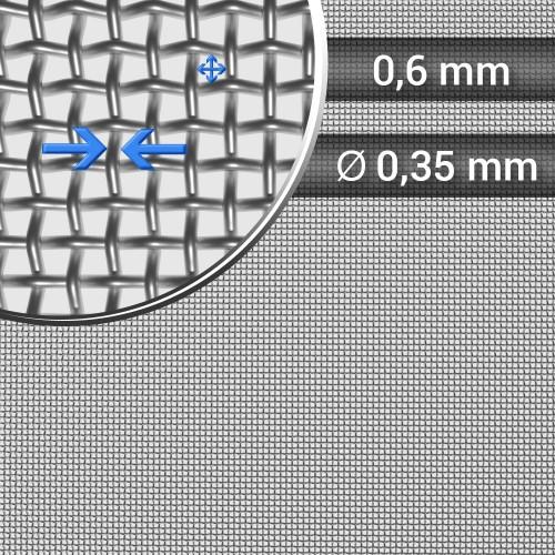 Siatka tkana ze stali nierdzewnej, sito 27, oczko 0,6 mm, rolka 1000 mm