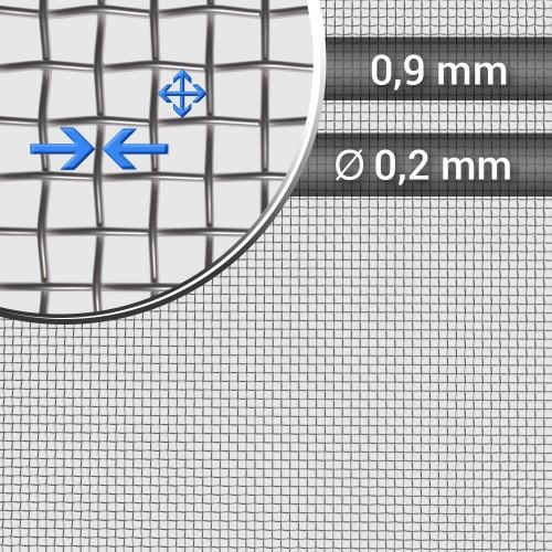 Siatka tkana ze stali nierdzewnej, sito 23, oczko 0,9 mm, rolka 1000 mm