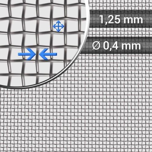 Siatka tkana ze stali nierdzewnej, sito 15, oczko 1,25mm, średnica drutu 0,4mm, szerokość rolki 1000mm