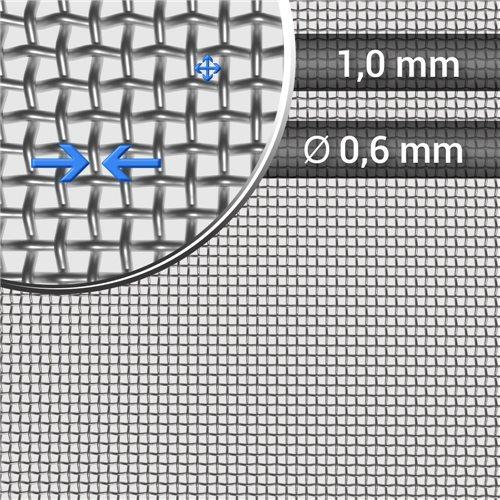 Siatka tkana ze stali nierdzewnej, sito 16, oczko 1 mm, średnica drutu 0,6mm, rolka 1000 mm