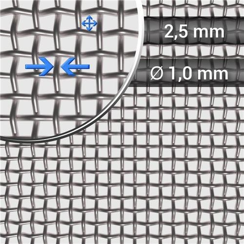 Siatka tkana ze stali nierdzewnej, sito 7, oczko 2,5 mm, średnica drutu 1mm, rolka 1000 mm