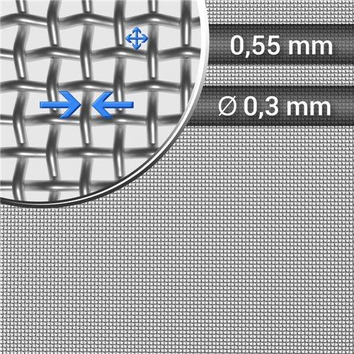 Siatka tkana ze stali nierdzewnej, sito 42, oczko 0,55 mm, rolka 1000 mm
