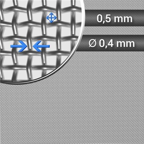 Siatka tkana ze stali nierdzewnej, sito 28, oczko 0,5 mm, średnica drutu 0,4mm, rolka 1000 mm