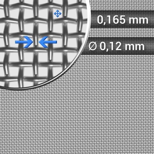 Siatka tkana ze stali nierdzewnej, sito 89, oczko 0,165 mm, rolka 1000 mm
