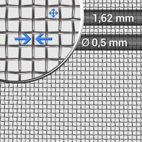 Siatka tkana ze stali nierdzewnej, sito 12, oczko 1,62 mm, drut 0,5 mm, szerokość rolki 1200 mm