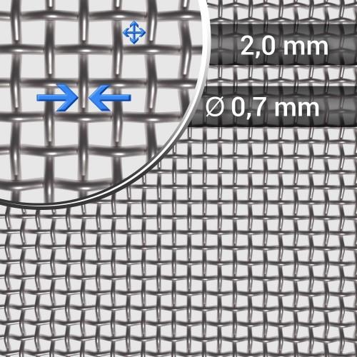 Siatka tkana ze stali nierdzewnej, sito 9, oczko 2 mm, rolka 1000 mm