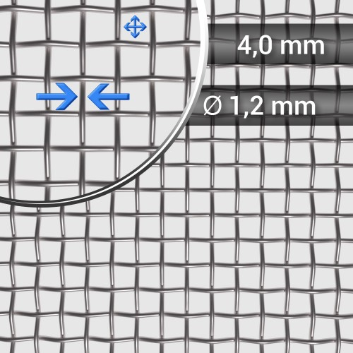 Siatka tkana ze stali nierdzewnej, sito 5, oczko 4 mm, rolka 1000 mm
