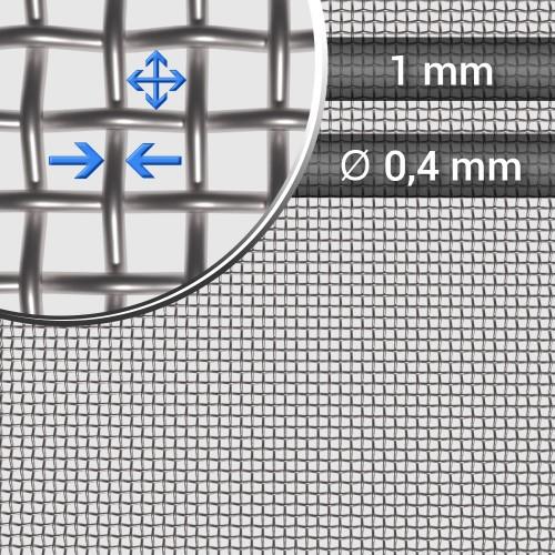 Siatka tkana ze stali nierdzewnej sito 18 oczko 1mm, średnica drutu 0,4mm, szerokość rolki 1000mm