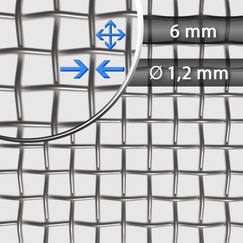 Siatka tkana ze stali nierdzewnej sito 4, oczko 6mm, średnica drutu 1,2 mm, szerokość rolki 1000 mm