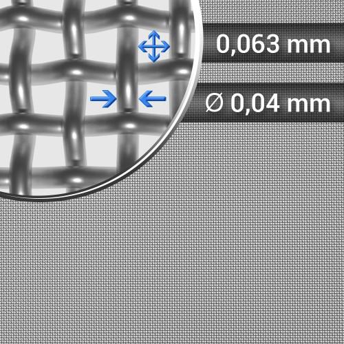 Siatka tkana ze stali nierdzewnej, sito 247, oczko 0,063mm, średnica drutu 0,04mm, szerokość rolki 1000mm