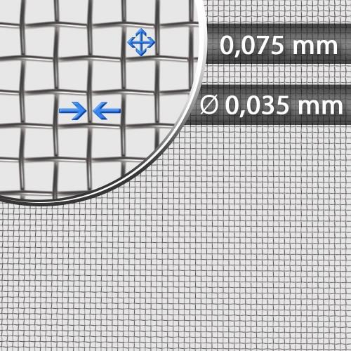 Siatka tkana ze stali nierdzewnej sito 231, oczko 0,075 mm, średnica drutu 0,035 mm, szerokość rolki 1000 mm
