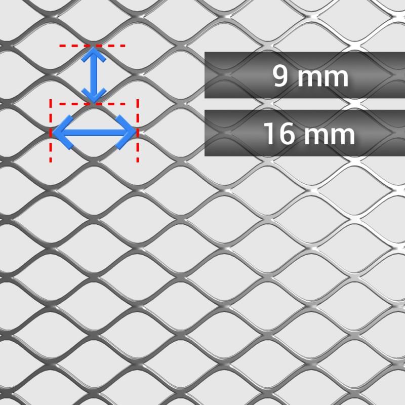 Siatka cięto ciągniona ocynkowana oczko: 16 mm x 9 mm, grubość 1,2 mm, szerokość rolki 1250 mm